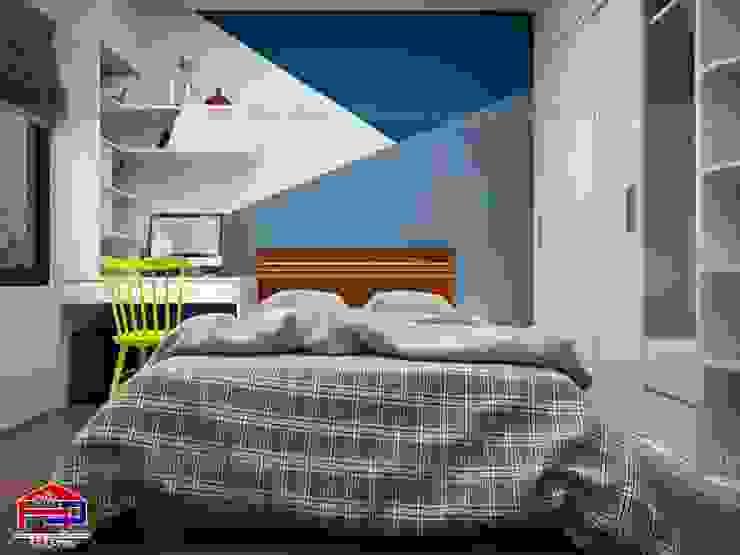 Ảnh 3D thiết kế nội thất phòng ngủ bé trai nhà chú Quang ở tòa Ruby1 Goldmark City: hiện đại  by Nội thất Hpro, Hiện đại