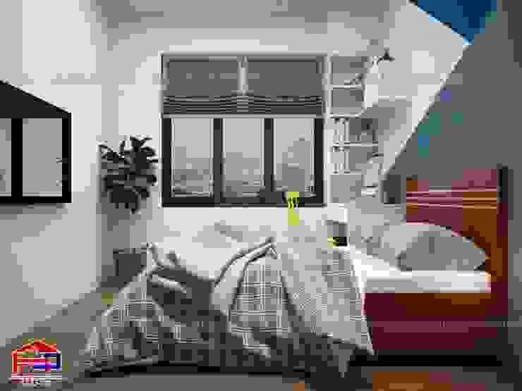 Ảnh 3D thiết kế nội thất phòng ngủ bé trai nhà chú Quang ở tòa Ruby1 Goldmark City - view 2: hiện đại  by Nội thất Hpro, Hiện đại
