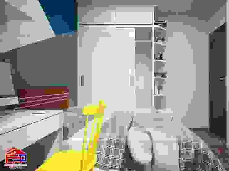 Ảnh 3D thiết kế nội thất phòng ngủ bé trai nhà chú Quang ở tòa Ruby1 Goldmark City - view 3: hiện đại  by Nội thất Hpro, Hiện đại