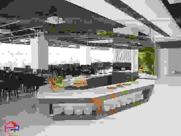 Ảnh 3D thiết kế quầy buffet laminate nhà hàng Buffet Poseidon- 85 Lê Văn Lương: hiện đại  by Nội thất Hpro, Hiện đại