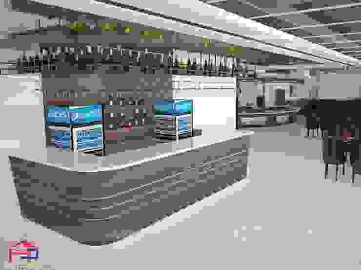 Ảnh 3D thiết kế quầy bar laminate nhà hàng Buffet Poseidon- 85 Lê Văn Lương: hiện đại  by Nội thất Hpro, Hiện đại