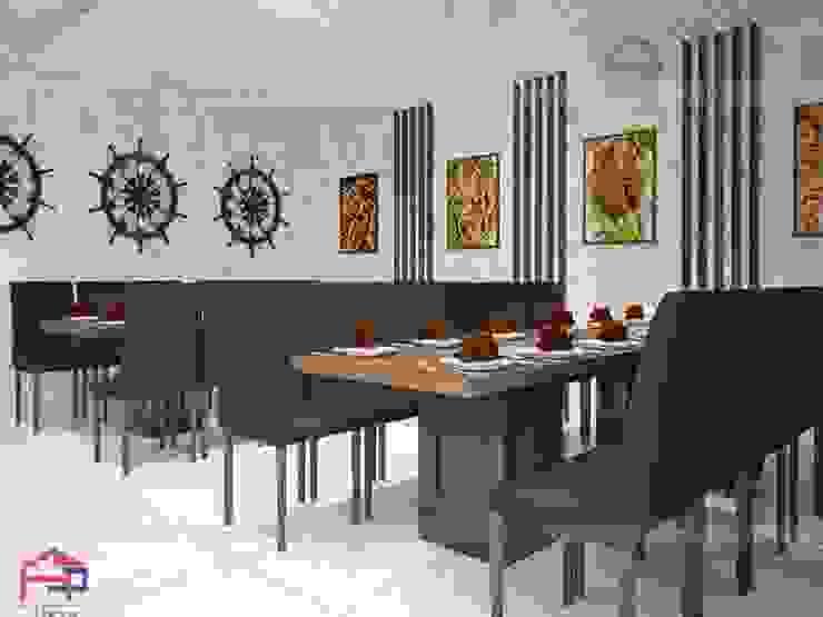 Ảnh 3D thiết kế nội thất gỗ laminate nhà hàng Buffet Poseidon- 85 Lê Văn Lương - khu vực dành cho thực khách: hiện đại  by Nội thất Hpro, Hiện đại