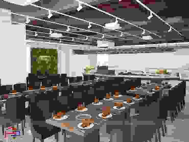 Ảnh thiết kế 3D bàn ăn laminate nhà hàng Buffet Poseidon- 85 Lê Văn Lương: hiện đại  by Nội thất Hpro, Hiện đại