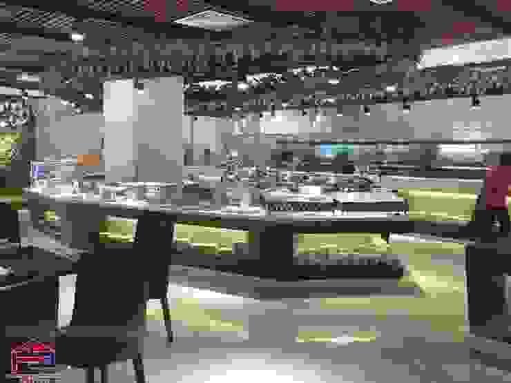 Hoàn thành thi công nội thất gỗ laminate cho nhà hàng Buffet Poseidon- 85 Lê Văn Lương: hiện đại  by Nội thất Hpro, Hiện đại