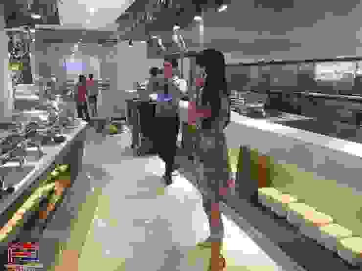 Nội thất gỗ laminate giúp không gian nhà hàng Buffet Poseidon- 85 Lê Văn Lương trở nên sang trọng và chuyên nghiệp hơn: hiện đại  by Nội thất Hpro, Hiện đại