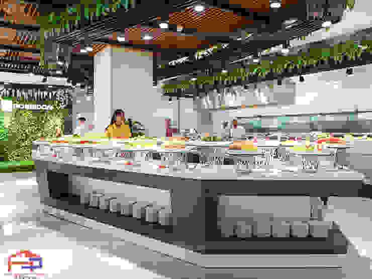 Hình ảnh thực tế quầy buffet gỗ laminate sau khi Hpro đã hoàn thành thi công: hiện đại  by Nội thất Hpro, Hiện đại