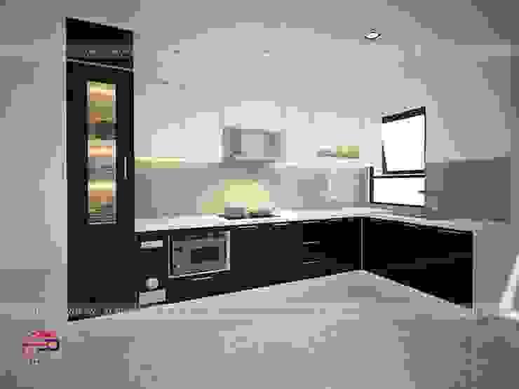 Ảnh thiết kế 3D tủ bếp acrylic đen trắng nhà anh Thảo ở Ngoại Giao Đoàn. bởi Nội thất Hpro