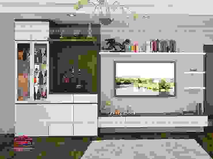 Ảnh 3D thiết kế nội thất phòng khách gỗ công nghiệp An Cường nhà anh Thảo ở Ngoại Giao Đoàn bởi Nội thất Hpro