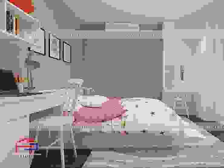 Ảnh 3D thiết kế nội thất phòng ngủ cho bé nhà anh Thảo ở Ngoại Giao Đoàn - view 2 bởi Nội thất Hpro