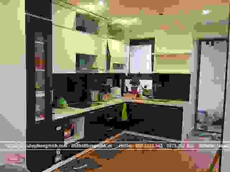 Ảnh thực tế tủ bếp acrylic đen trắng nhà anh Thảo ở Ngoại Giao Đoàn sau khi thi công xong bởi Nội thất Hpro
