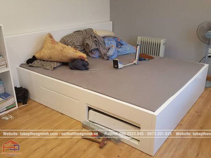 Ảnh thực tế giường ngủ trong nội thất phòng ngủ của bé nhà anh Thảo ở Ngoại Giao Đoàn bởi Nội thất Hpro