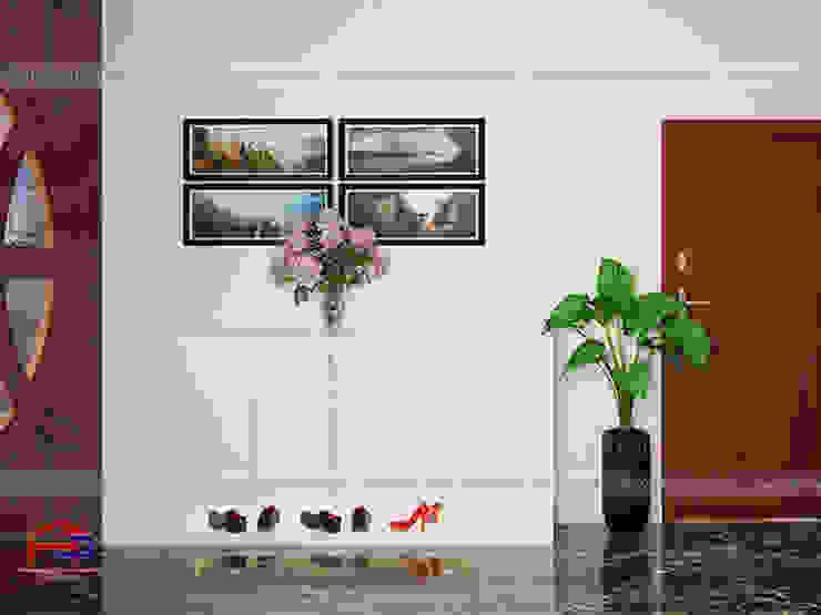 Ảnh 3D thiết kế tủ giày gỗ melamine màu trắng nhà anh Trí ở Nam Định: hiện đại  by Nội thất Hpro, Hiện đại