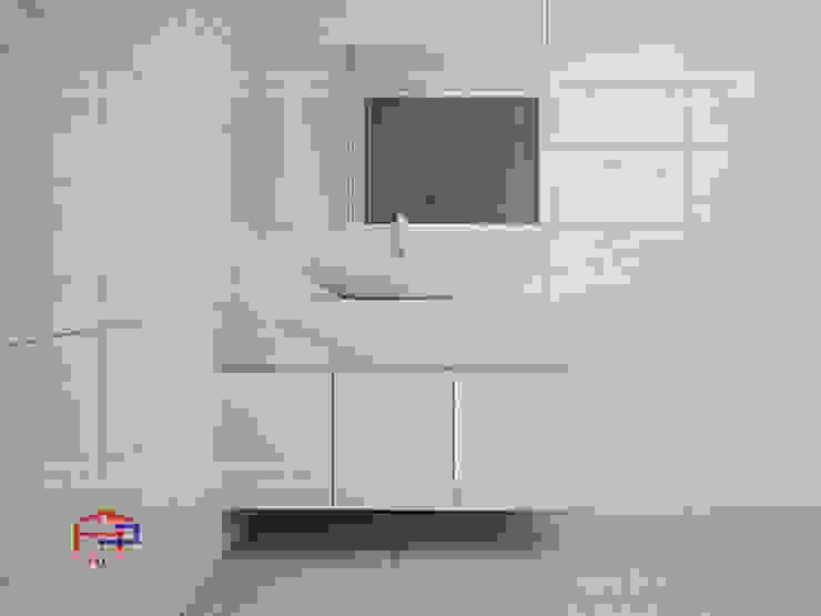Ảnh thiết kế 3D tủ lavabo gỗ công nghiệp melamine nhà anh Trí ở Nam Định: hiện đại  by Nội thất Hpro, Hiện đại