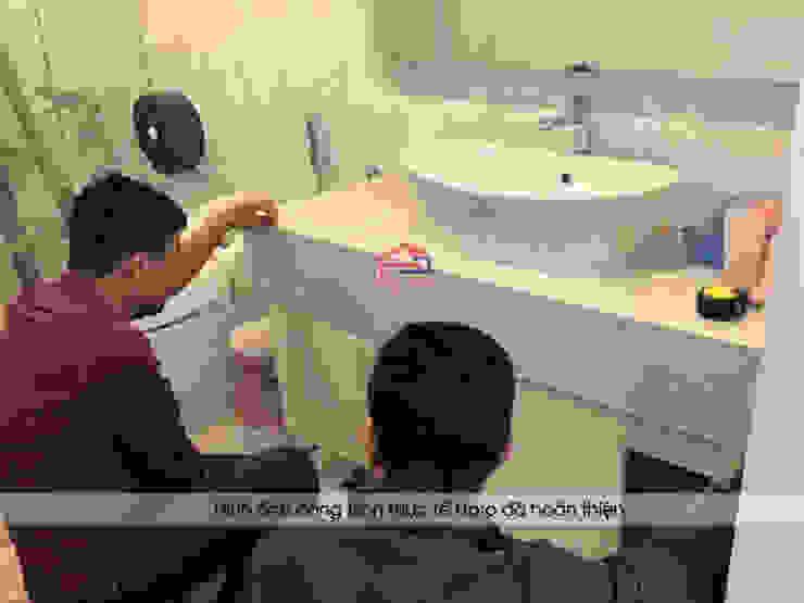 Thi công tủ lavabo melamine nhà anh Trí ở Nam Định: hiện đại  by Nội thất Hpro, Hiện đại