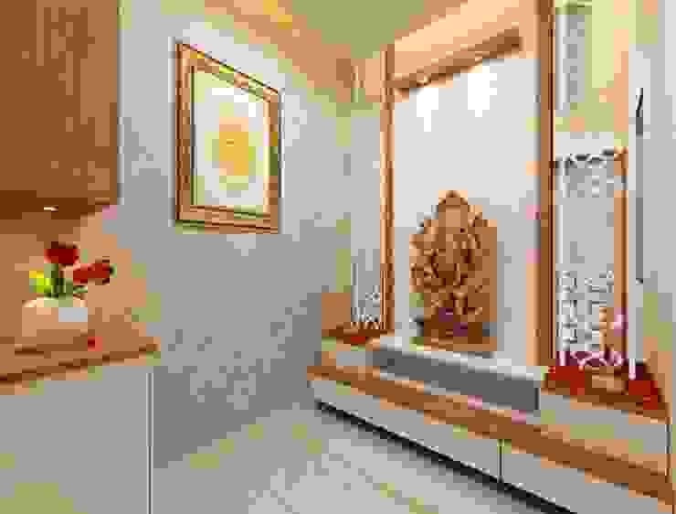 Puja room angle 1 Minimalist study/office by Square 4 Design & Build Minimalist
