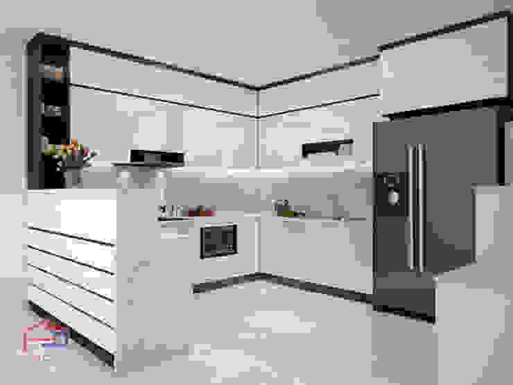 Ảnh thiết kế 3D tủ bếp acrylic kèm quầy bar nhà chị Hương ở Sơn La: hiện đại  by Nội thất Hpro, Hiện đại