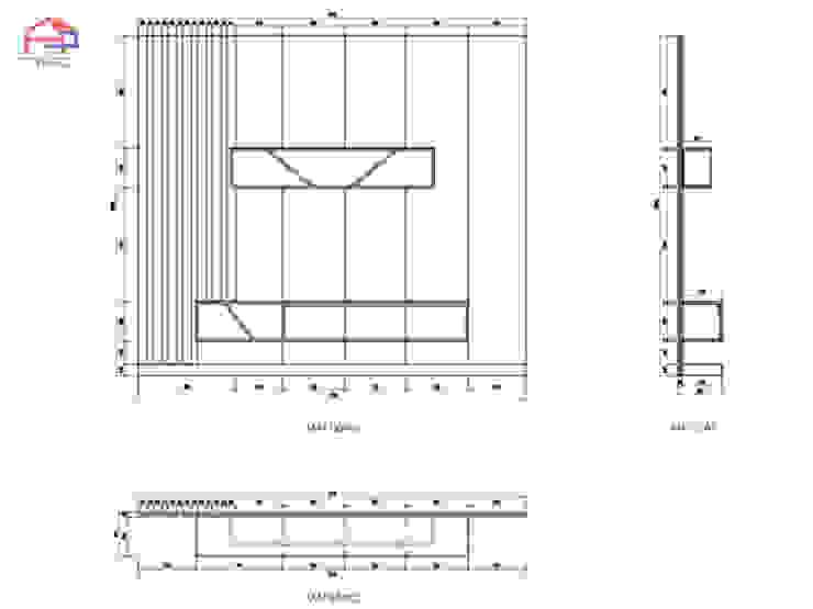 Bản vẽ chi tiết kệ tivi gỗ melamine trong nội thất phòng khách nhà chị Hương ở Sơn La: hiện đại  by Nội thất Hpro, Hiện đại