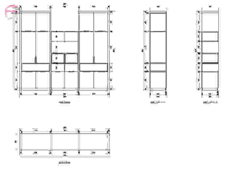 Bản vẽ chi tiết tủ quần áo melamine trong nội thất phòng ngủ cho bé nhà chị Hương ở Sơn La: hiện đại  by Nội thất Hpro, Hiện đại