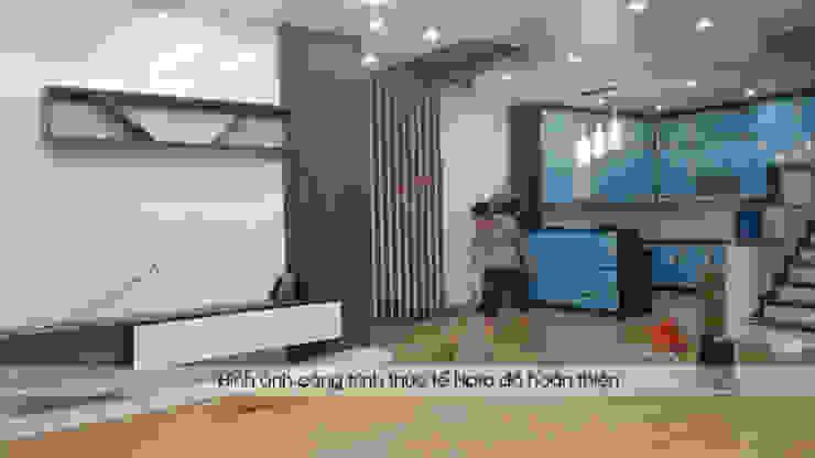 Hoàn thiện thi công nội thất phòng khách gỗ melamine và tủ bếp acrylic nhà chị Hương ở Sơn La: hiện đại  by Nội thất Hpro, Hiện đại