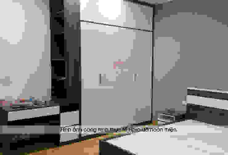Ảnh thực tế nội thất phòng ngủ master nhà chị Hương ở Sơn La: hiện đại  by Nội thất Hpro, Hiện đại