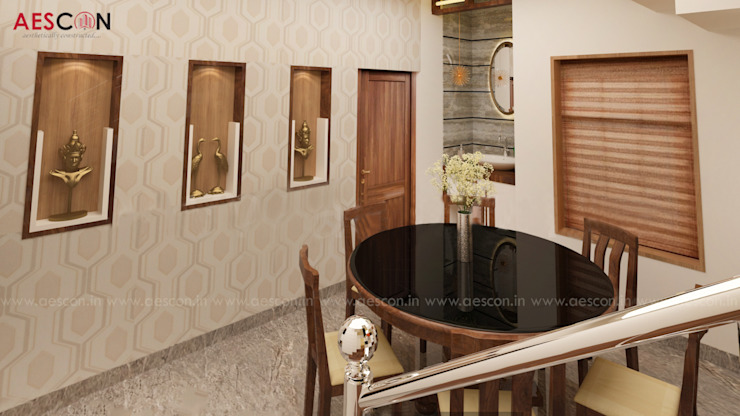 Builders in Chengannur Asian style dining room by Aescon Builders and Architects Asian