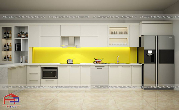 Ảnh thiết kế 3D tủ bếp acrylic màu trắng nhà chị Thu ở Long Biên: hiện đại  by Nội thất Hpro, Hiện đại