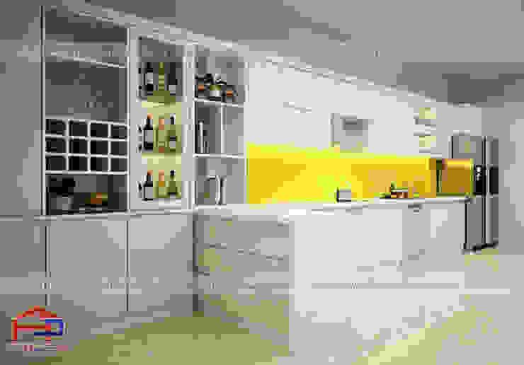 Ảnh thiết kế 3D tủ bếp acrylic kèm bàn đảo và tủ rượu nhà chị Thu ở Long Biên: hiện đại  by Nội thất Hpro, Hiện đại