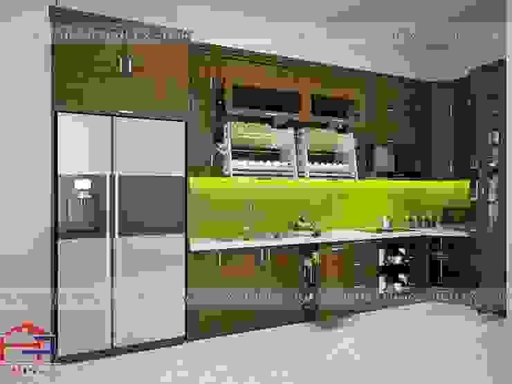 Ảnh thiết kế 3D tủ bếp gỗ sồi mỹ chữ L nhà anh Phương ở Đức Giang: hiện đại  by Nội thất Hpro, Hiện đại