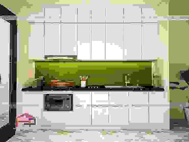 Ảnh 3D thiết kế tủ bếp laminate nhà chị Trang tại Long Biên: hiện đại  by Nội thất Hpro, Hiện đại