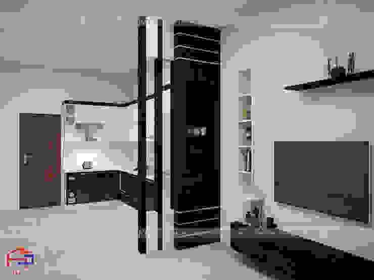 Ảnh 3D thiết kế nội thất phòng khách nhà anh Thủy ở Hải Phòng - Hạng mục vách ngăn phòng khách và bếp: hiện đại  by Nội thất Hpro, Hiện đại
