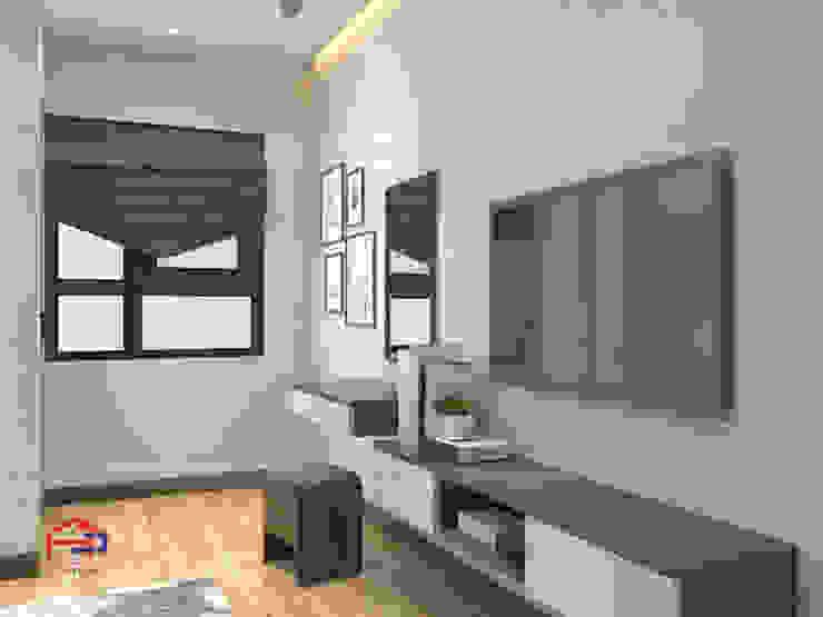 Ảnh 3D thiết kế nội thất phòng ngủ master nhà anh Thủy ở Hải Phòng: hiện đại  by Nội thất Hpro, Hiện đại