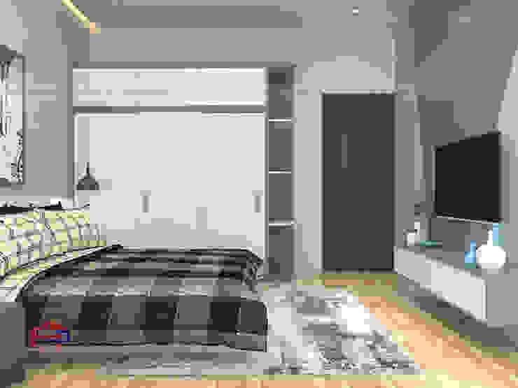 Ảnh 3D thiết kế nội thất phòng ngủ cho con nhà anh Thủy - view 1: hiện đại  by Nội thất Hpro, Hiện đại
