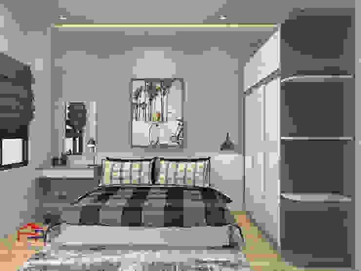 Ảnh 3D thiết kế nội thất phòng ngủ cho con nhà anh Thủy - view 2: hiện đại  by Nội thất Hpro, Hiện đại