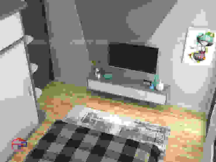 Ảnh 3D thiết kế nội thất phòng ngủ cho con nhà anh Thủy - view 3: hiện đại  by Nội thất Hpro, Hiện đại