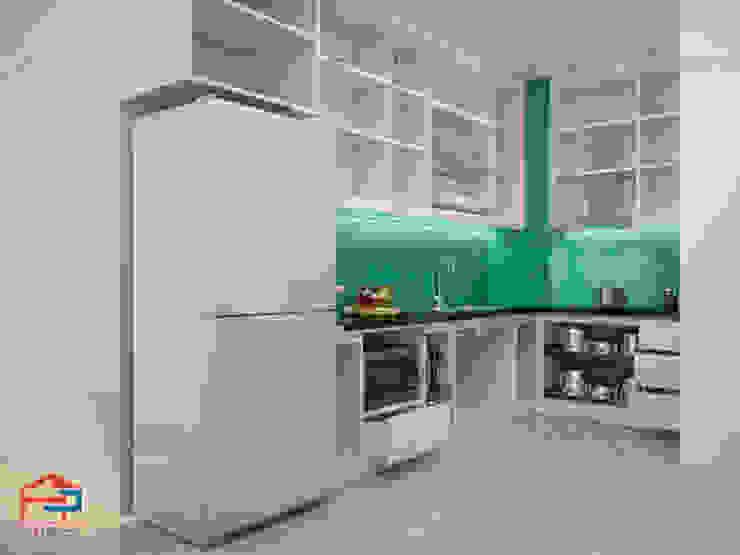 Ảnh thiết kế 3D tủ bếp laminate An Cường nhà chị Hương ở Nguyễn Tuân: hiện đại  by Nội thất Hpro, Hiện đại