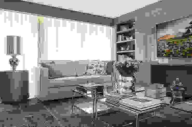 Living - lareira: Salas de estar  por Anne Báril Arquitetura,