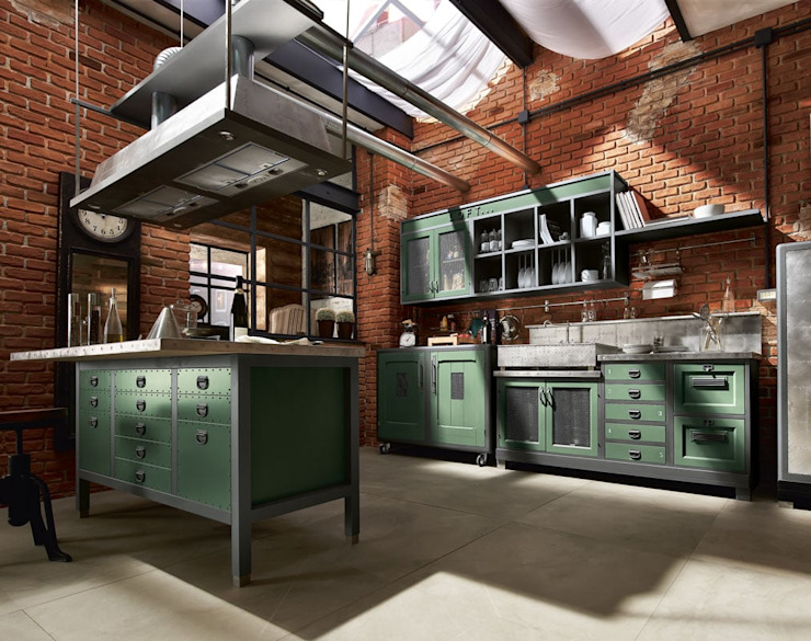 Marchi Cucine - Dialma Brown MX Industrial style kitchen Solid Wood Green