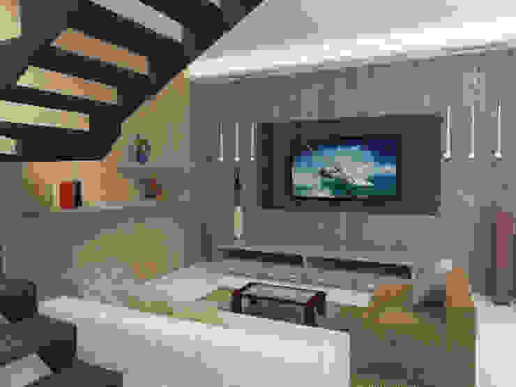 Diseño Sala de departamento MATE Arquitectura Salones modernos Concreto Blanco