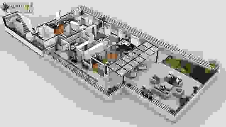 Modern Penthouse 3D Home Floor Plan Design by Yantram Architectural Design Studio, Dublin – Ireland od Yantram Architectural Design Studio Nowoczesny Cegły