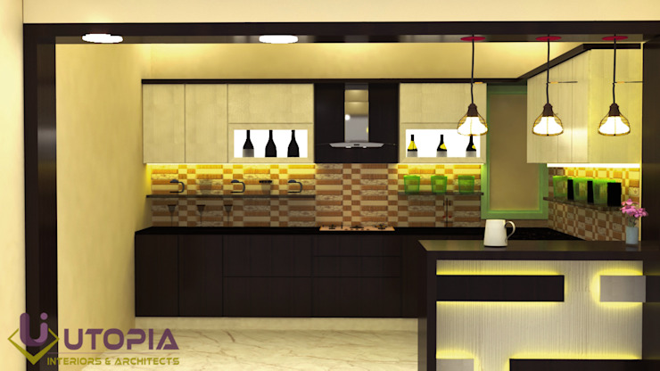 modular kitchen with provision for selves and baskets Asian style kitchen by Utopia Interiors & Architect Asian Plywood