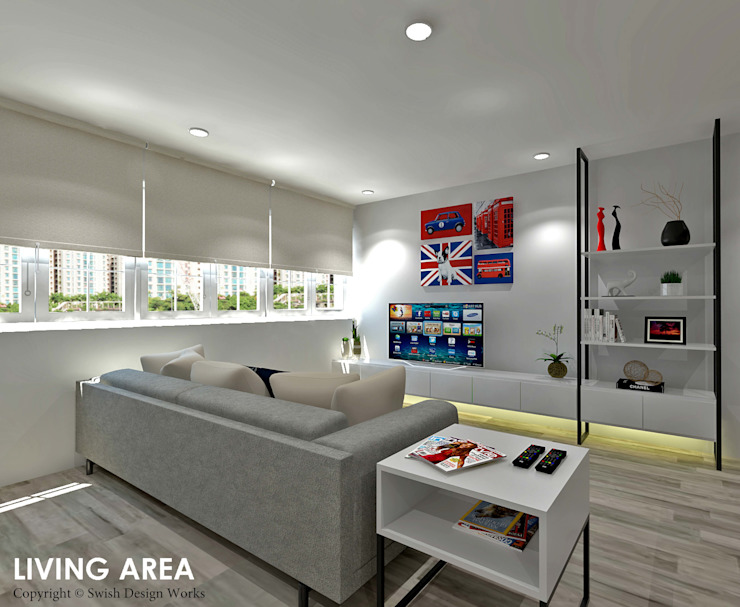 Hougang Street 22 Classic style living room by Swish Design Works Classic