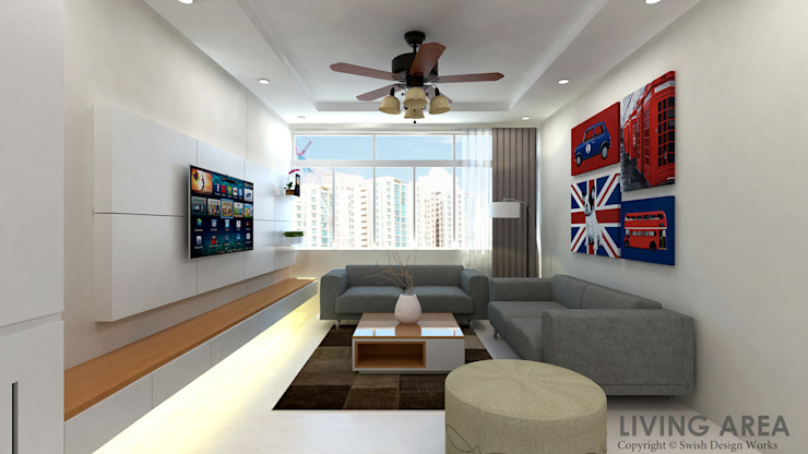 Ang Mo Kio Ave 10 Classic style living room by Swish Design Works Classic