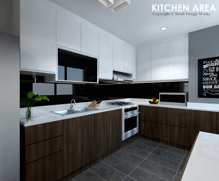 Ang Mo Kio Ave 3 Scandinavian style kitchen by Swish Design Works Scandinavian