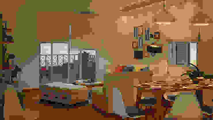 تصميم فراغ معيشة ومطبخ مفتوح من AmiraNayelDesigns حداثي