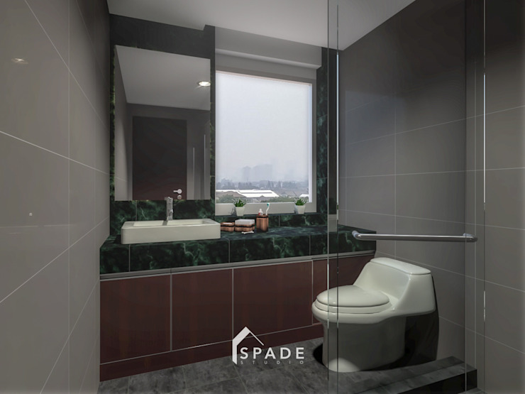 Kensington's Unit Apartment Kelapa Gading Kamar Mandi Modern Oleh SPADE Studio Indonesia Modern