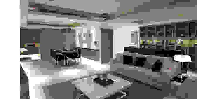 中央空調隱藏在天花夾層內 现代客厅設計點子、靈感 & 圖片 根據 鼎爵室內裝修設計工程有限公司 現代風