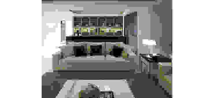客廳另一視角 现代客厅設計點子、靈感 & 圖片 根據 鼎爵室內裝修設計工程有限公司 現代風