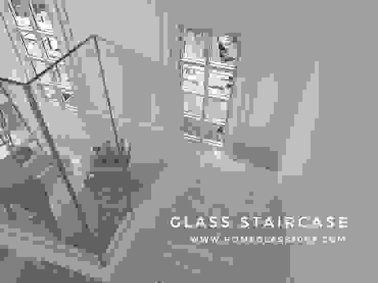 ราวกันตก / ราวบันได กระจกเทมเปอร์เปลือย หนา 12 มม.: ทันสมัย  โดย Home Glass 2003, โมเดิร์น กระจกและแก้ว