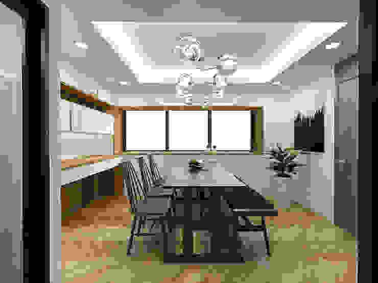 주택 내부 및 다이닝룸공간 스칸디나비아 다이닝 룸 by 디자인 이업 북유럽 솔리드 우드 멀티 컬러