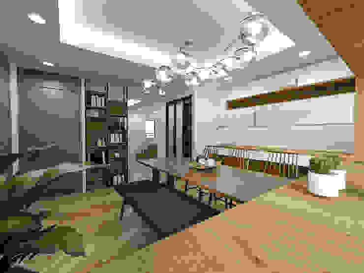주택 내부 및 주방,다이닝룸공간 미니멀리스트 거실 by 디자인 이업 미니멀 솔리드 우드 멀티 컬러